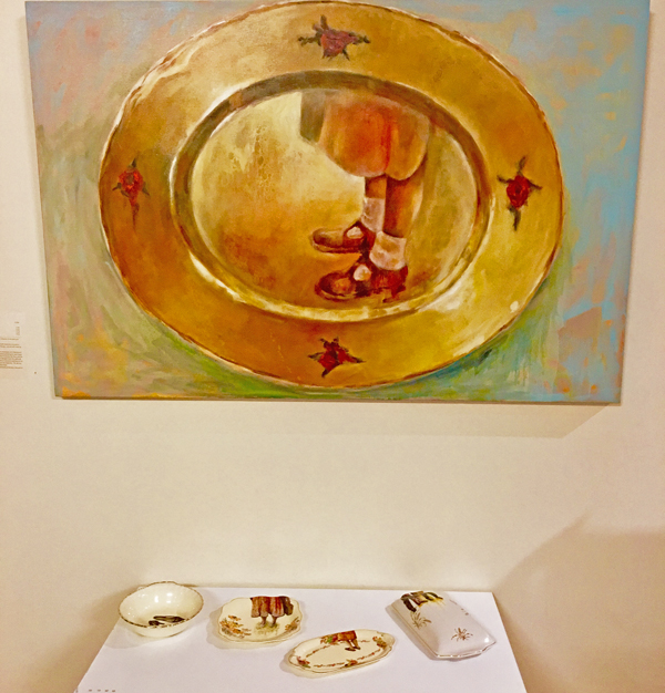 Janice Lane Only On Reflection oil paint on canvas and china plates